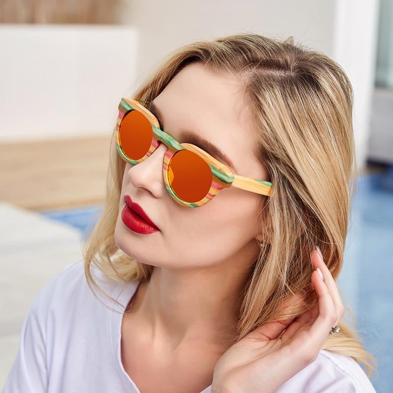 Angcen 100% bamboe zonnebril Dames Luxe merk Designer Vintage dames zonnebril Gepolariseerde vrouwelijke mode-bril met etui