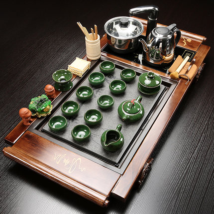 Chinese teawar set wood tea tray Simple modern Home ceramic automatic ceremony Large Number kungfu Table gift preferred