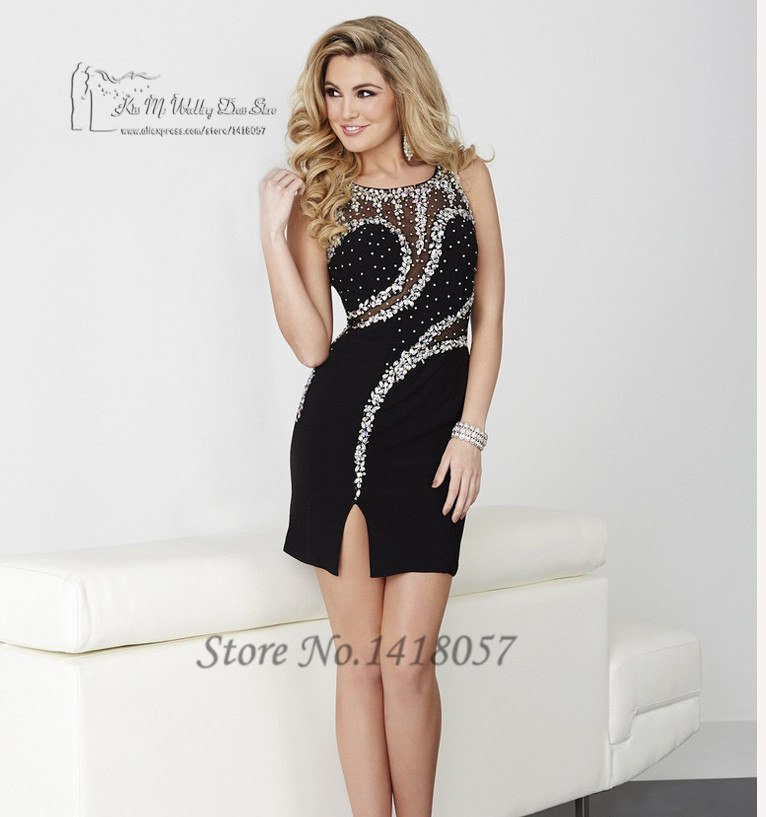 Rhinestones Black Purple Short Cocktail Dresses Crystal Party Dress Gowns Vestidos De Coctel 2016 Sheath Mini Sexy Club Luxury
