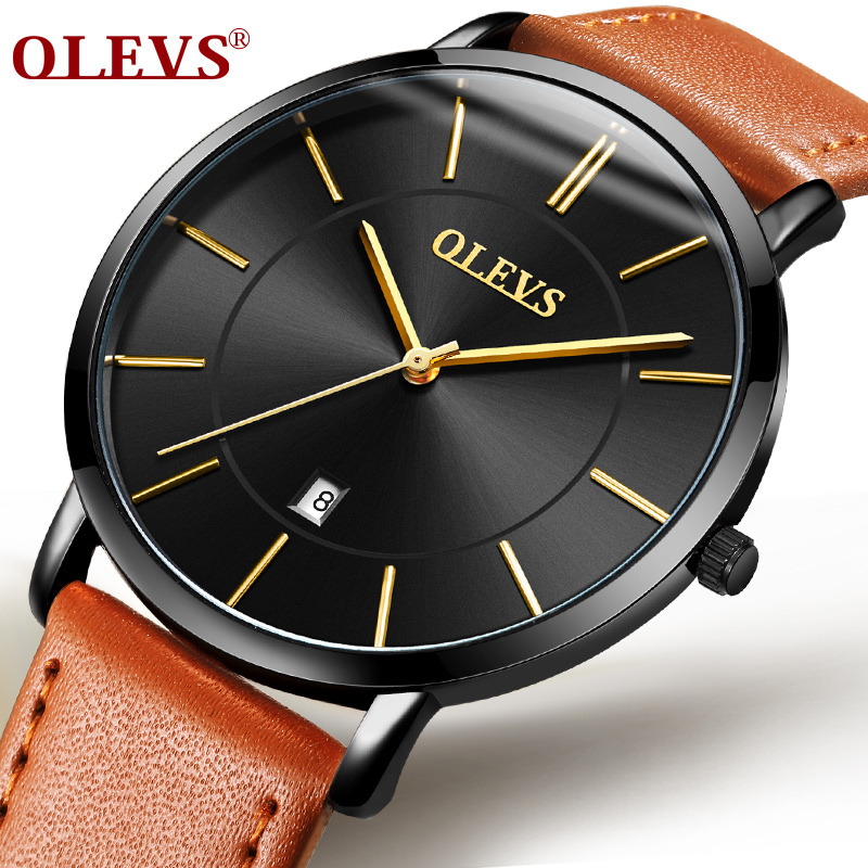 OLEVS Men's Calendar Watches Luxury Brand Water resistant Sports Wristwatch Casual Fashion Leather Ultra thin Watch Quartz Male