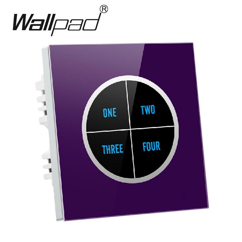 4 gangs 2 voies violet verre écran tactile interrupteur de lumière murale Logo bouton conception gratuite 110 V ~ 250 V micro tactile interrupteur, livraison gratuite