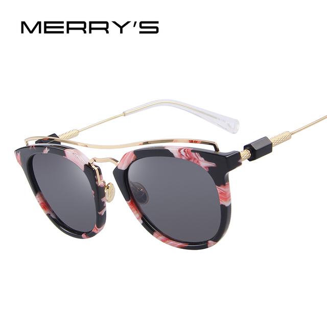MERRY'S Mulheres Olho de Gato Do Vintage óculos de Sol feixe Duplo Quadro de Revestimento Da Lente do Espelho S'8047