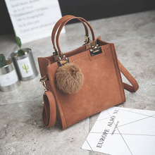 NEW HOT SALE handbag women casual tote bag female large shoulder messenger bags high quality PU leather handbag with fur ball