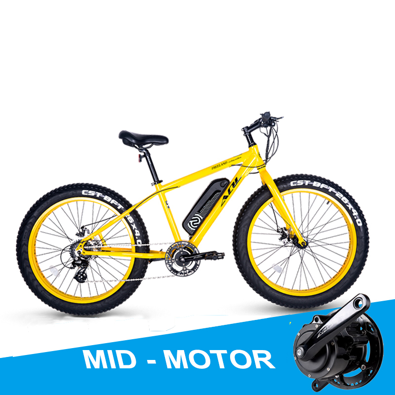 26inch electric mountian bike 36V240W Mid motor 4.0 fat tire ebike All terrain snowy beach power assisted bicycle