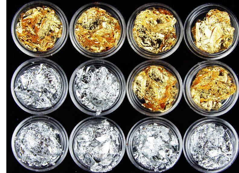 Nagelglitzer Methodisch Ungiftig Metall Gold Und Silber Designs 12 X Nail Art Vier Farben Alufolie Dekoration Acryl Tipps Nagel Dressing Gute WäRmeerhaltung Schönheit & Gesundheit