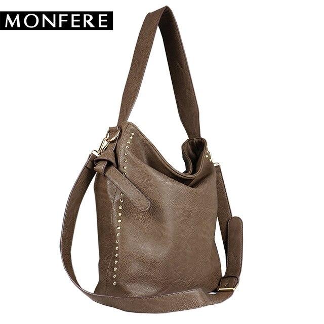 207c92263b MONFERE Large Casual Women Hobo Bags female PU leather Fashion Top-handle  Shoulder Bags Rivets Zipper Crossbody Strap handbags