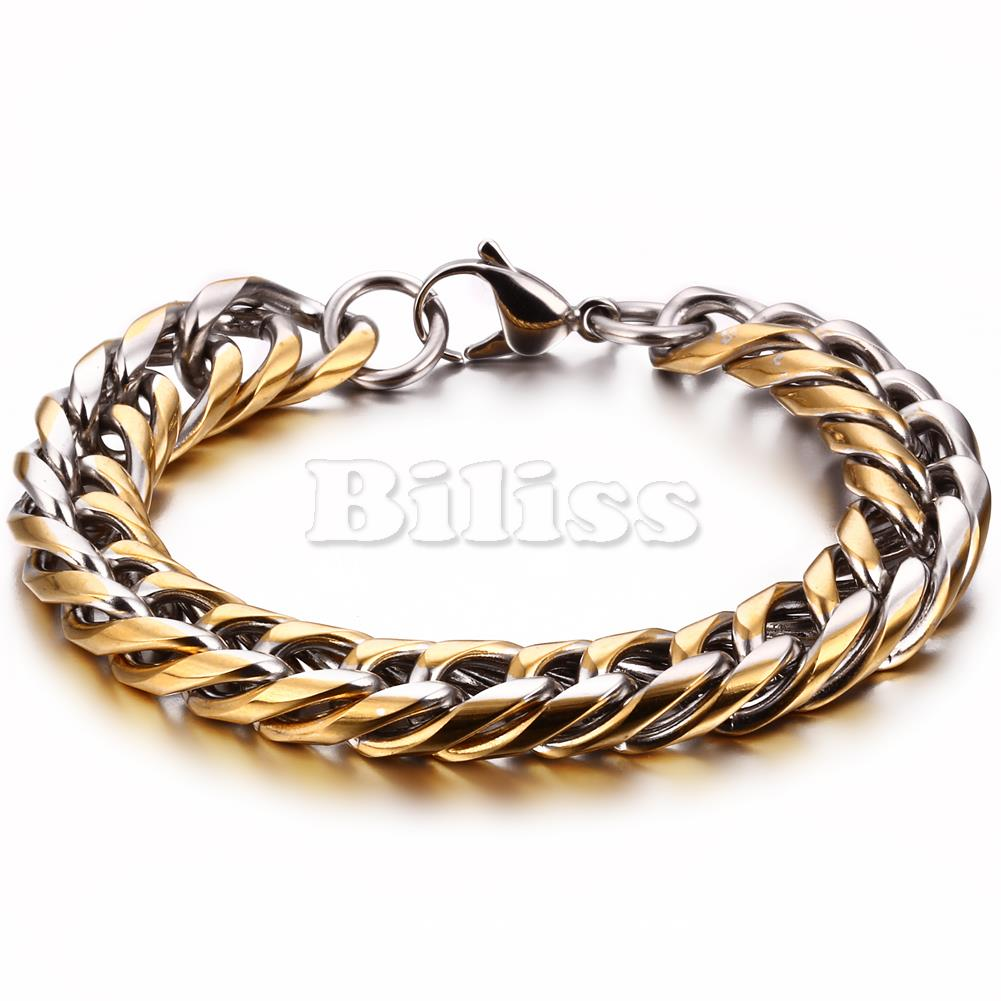 US $11 63 7% OFF|Mens Chain Link Wristband Bangle Cuff 316L Stainless Steel  Bracelet Gold Color Men Jewelry Wholesale Jewelry-in Chain & Link