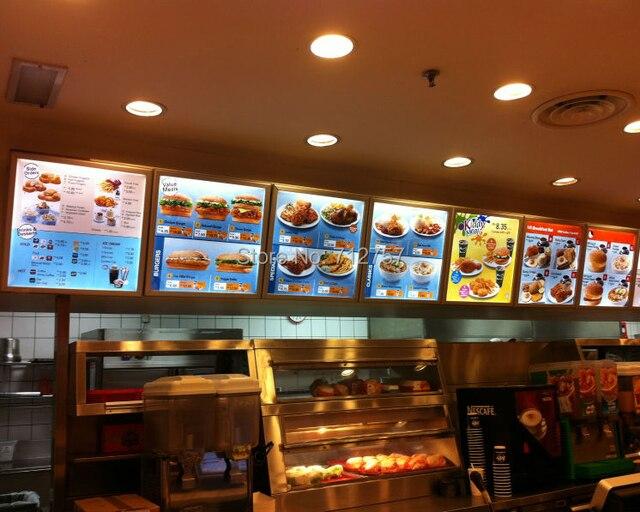 6e3815e7ad1 Super Slim Caixa de Luz Do Menu Levou para a Loja de Fast Food em ...