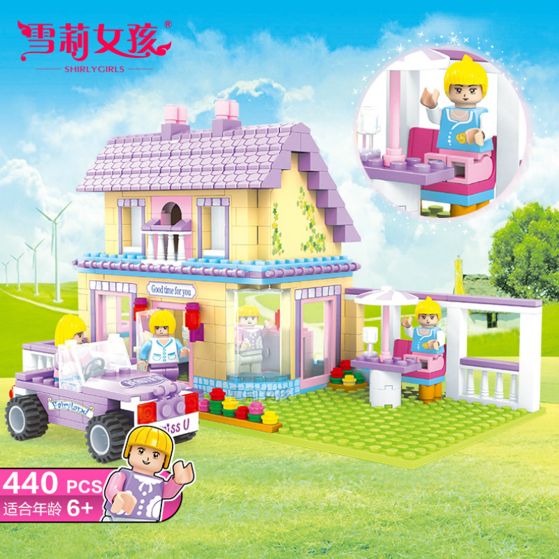 ФОТО Girl's Puzzle Assembly Village House Family Home City Series Figures And Car Building Blocks Brick Learning & Education Toy