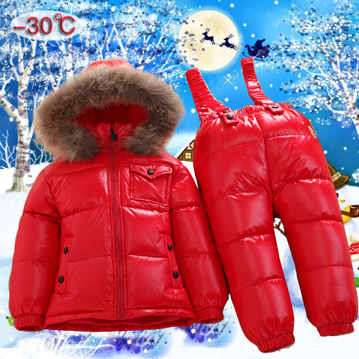 Russian winter children warm clothes kids jacket 2pcs set duck feather down raccoon fur collar hood ski snowsuit boys parkas