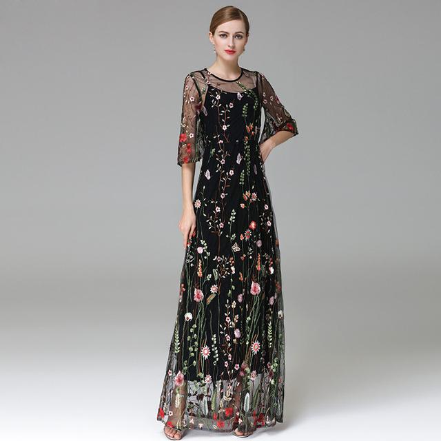 Noble Vintage Flower Floral Embroidery Dress