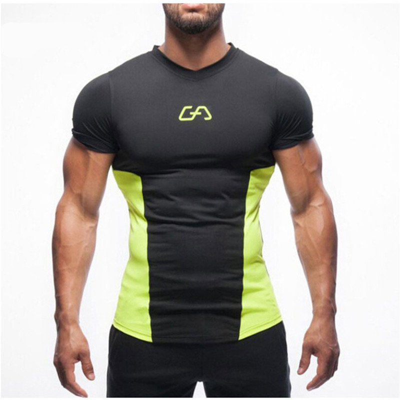 Summer Sport Running T Shirt Compression Fitness Tights Bodybuild Short Sleeve Men O-neck Loose Casual Special Strong Tops