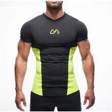 19e49b03093898 Letnie sportowe T Shirt siłownia rajstopy kompresyjne do ćwiczeń Bodybuild męska  koszulka z krótkim rękawem O