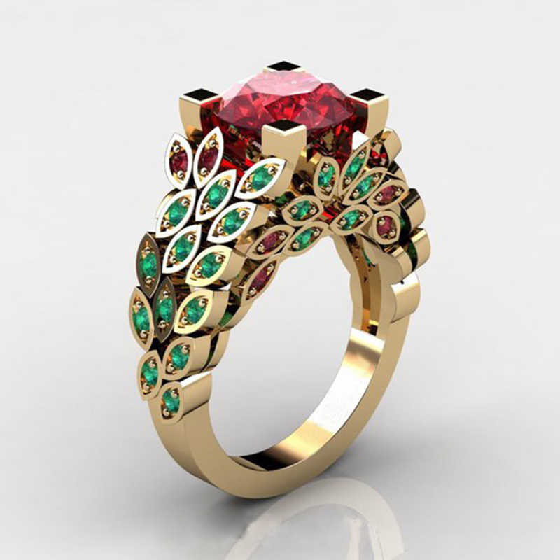 Tisonliz Luxury Brand Female Red Crystal Rings Gold Color Flower Leaf Rings Anniversary Gift Jewelry for Women Lady Dropshipping