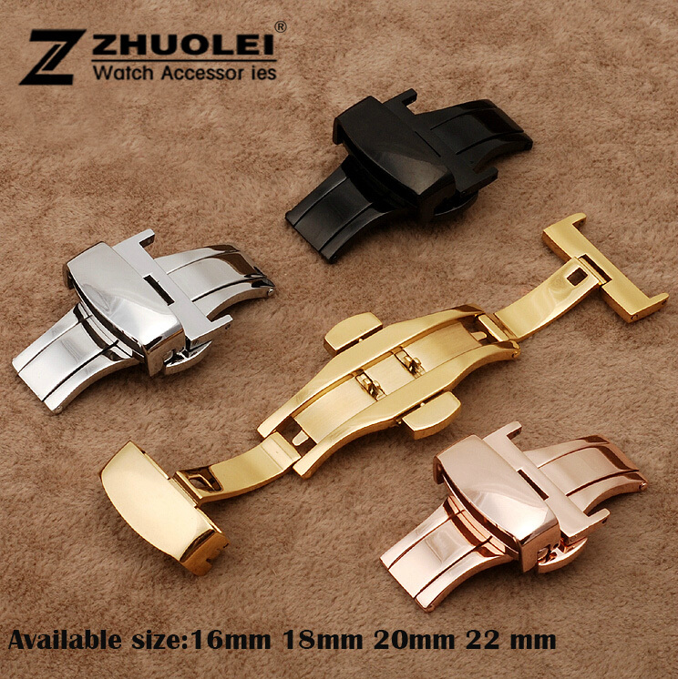 16 18 20 22mm New high quliaty Silver Black Gold Rose Gold Butterfly Deployment Watch Band Double Push Button Buckle Clasp tearoke butterfly deployment watch band double push button fold strap buckle clasp 16 18 20 22 24mm gold rose gold silver
