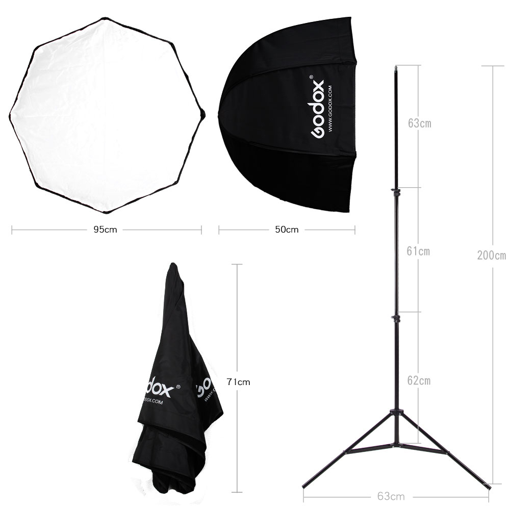 Godox 95cm 37.5'' Octagon Umbrella Softbox Light Stand Type B Hot Shoe Holder Bracket Kit for Canon Nikon Godox Speedlite Flash-in Softbox from Consumer Electronics    3
