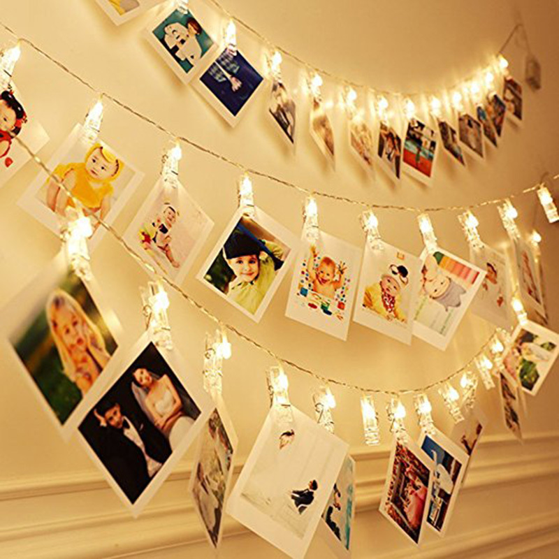 20 40 LED Lights Creative Lamp Clip Chains Flash Photo Wall Decoration Birthday Valentines Day Party Lighting