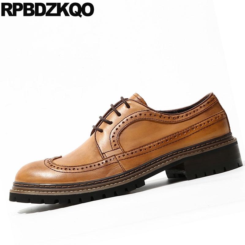 Italienischen Italien Handgemachte Männer Britischen Marke Stil Formale Runway Schuhe Brogue Braun Flügelspitze Leder Oxfords Brown Vintage Europäischen Kleid pAaa7qF