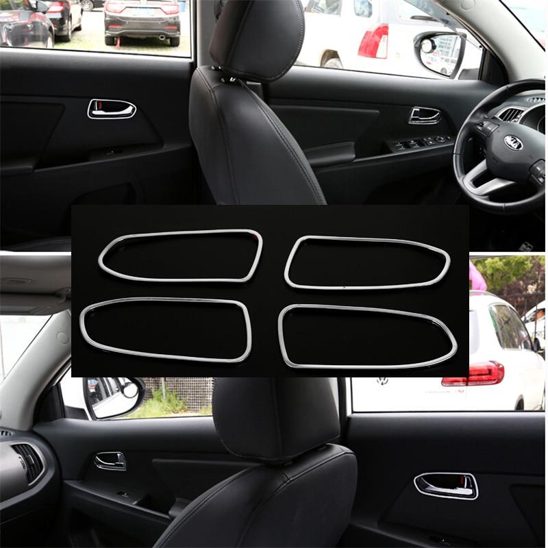 ABS Interior Door Handle Bowl Frame Cover Trim 4pcs for Kia Sportage R 2011-2015