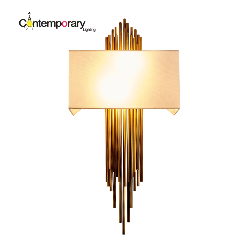 LED Painting Luxury Scandinavian design Gold metal tube wall lamp sconce for europe aisle ...
