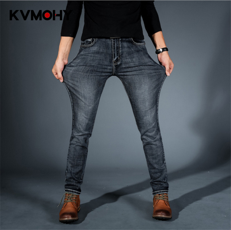 Jeans   For Men Stretch Mid Waist Blue Black   Jean   Fashion Stripe Straight Pants Plus Size Classic Pantalon Homme   Jean