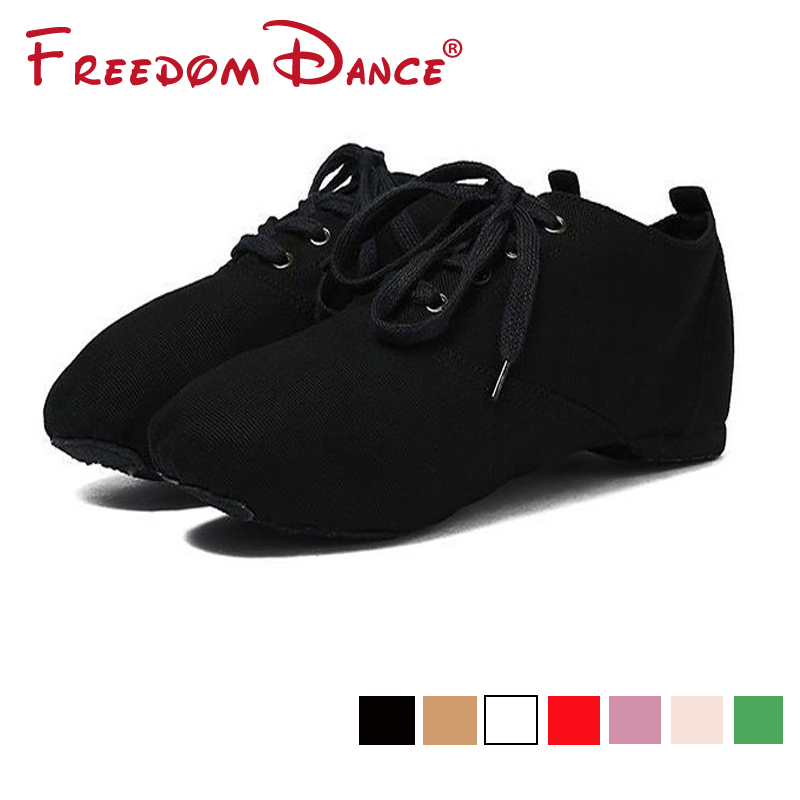Canvas Jazz Dance Shoes Lace-Up Soft Split Soles Ballet Dance Shoes Gym Yoga Fitness Karate Shoes Flat Sneakers Free Shipping for sale 8 colors high top jazz dancing cancas shoes dance shoes oxford lace up jazz sneaker canvas jazz ankle boots 5141