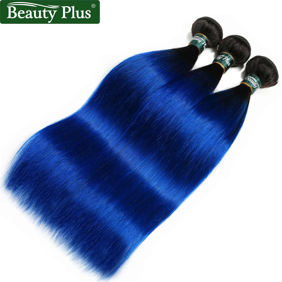 Beauty Plus Ombre Brazilian Straight 3 Bundle Deals Pre-Colored Human Hair Weave Dark Roots T1B/Blue Hair Extensions Non Remy