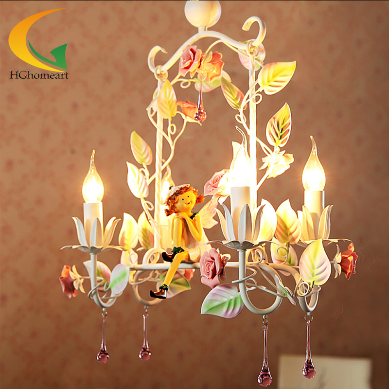 Creative restaurant chandelier Korean princess lights garden style wrought iron chandeliers flowers led ceiling lights led lamp creative lights fabric lampshade painting chandelier iron vintage chandeliers american style indoor lighting fixture
