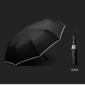 Image 3 - Guarda chuva reflexivo dez bone completo automático guarda chuva três dobrável resistente ao vento high end business guarda chuva duplo