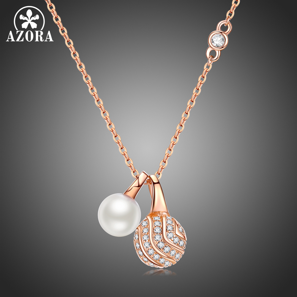 все цены на AZORA Fashion Simulated Pearl Round Ball Clear Cubic Zirconia Pendant Necklaces for Women Rose Gold Color Jewelry TN0245 онлайн