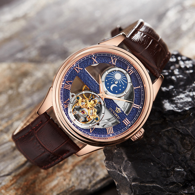 OUYAWEI 2019 clock Mechanical watch men Automatic Skeleton Tourbillon waterproof top brand luxury Moon Phase Wrist Watches