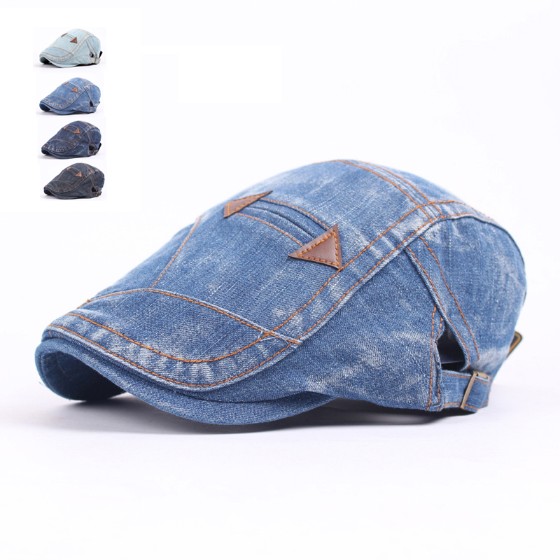 Fashion Spring Summer Jeans Hats for Men Women High Quality Casual Unisex Denim Beret Caps OutDoors Flat Cap for Cowboy