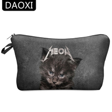 DAOXI Portable Cosmetic Bags for Makeup 3D Printing Black Cat Necessaries for Travelling with Zipper 10002