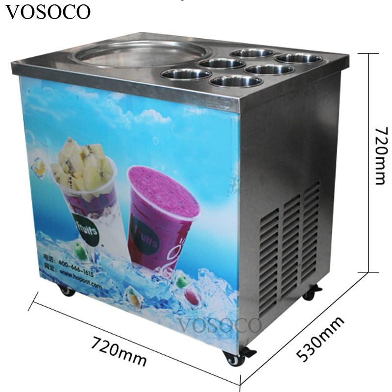 VOSOCO Fried ice cream machine 740W ice cream roll fry ice pan machine Commercial 1 pot 6 tank Stir fried yogurt fruit machine 2017 big square pan 75 35cm fried ice cream roll machine fried ice cream machine fried ice machine for commercial use