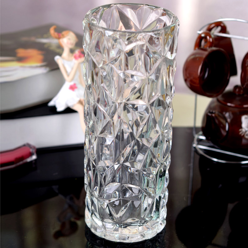 Cylinder Ice Flower Crystal Glass Vase Lily Modern Fashion