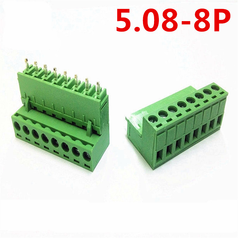 10sets 8 Pin Straight pin PCB Electrical 5.08mm Pitch 300V 10A Plug Green connectors screw terminal block Pin header and socket