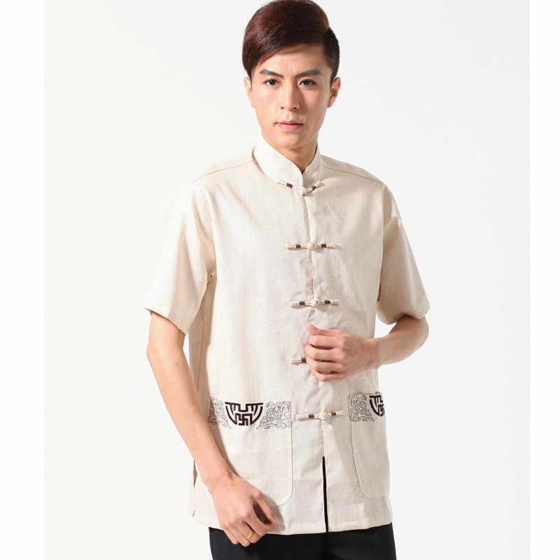 新到着中国男性綿リネンカンフーシャツ半袖カンフーシャツウー Shu 服トップス ML XL XXL XXXL W06