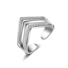 67ec087a6ced Anillo de plata de moda banda dedo anillo ajustable caliente sólido 925 joyería  amistad regalo para Niñas