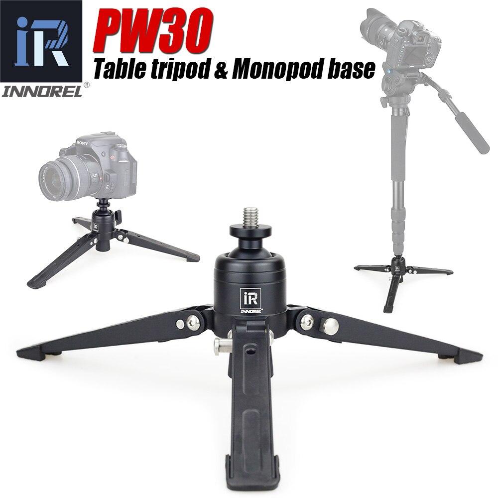 PW30 mini Alumninum table tripod 3 Legs Base for video Unipod Monopod Camera stand for Canon Nikon Sony DSLR Camera & smartphone