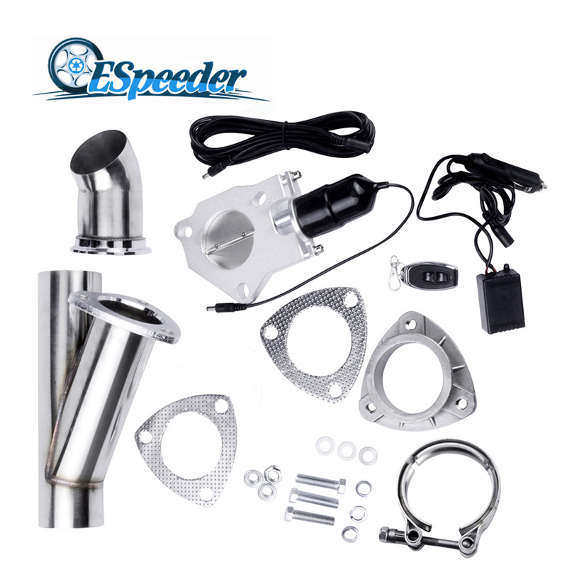 3 Inch Stainless Steel Headers Y Pipe Electric Exhaust Cutout Kit With Remote Control Exhaust Cut Out Catback Down Pipe Kit Car 3 inch exhaust cutout electric dump y pipe catback cat back turbo bypass steel for toyota supra mk3 hu cutout03