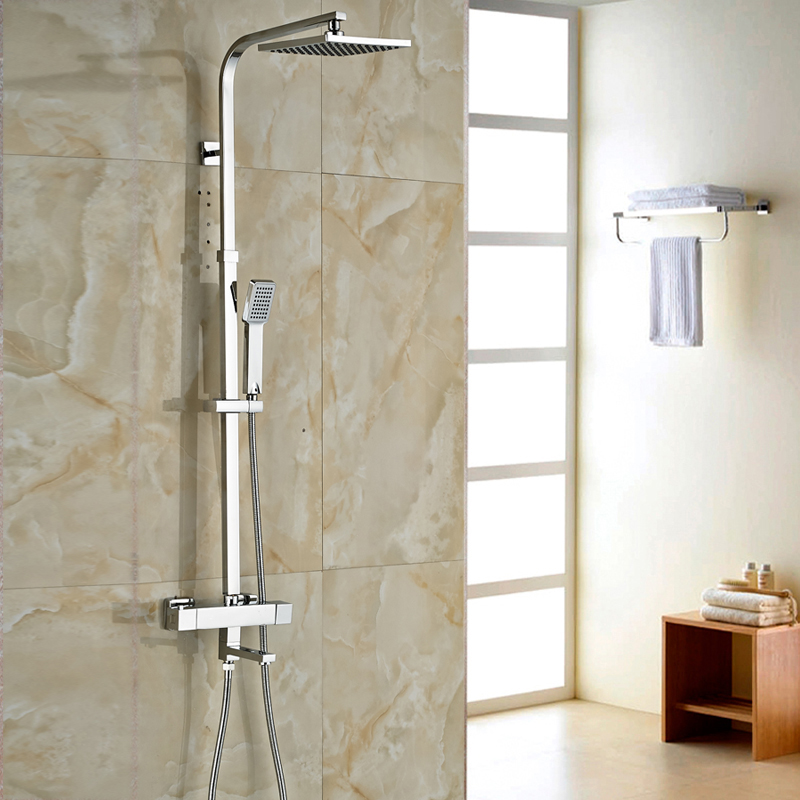 Dual Handles Thermostatic Mixer Valve for Shower Faucet Set Wall Mount 8