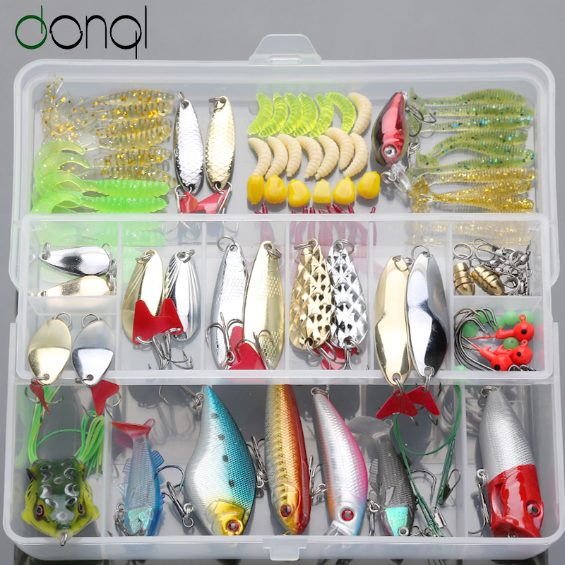 DONQL 109Pcs Mixed Fishing Lure Set Minnow Spoon Soft Fishing Baits Kit With Box Artificial Bait Gear Pesca Fishing Tackle Set set mixed fishing lure 10pcs lot minnow popper hard baits lures iscas artificial bait fishing tackle kit isca artificial pesca