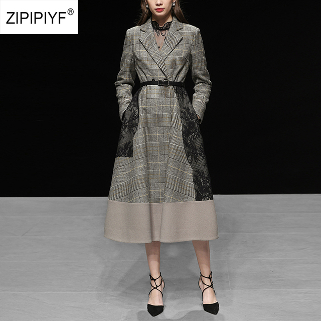 Winter New Vintage Woman Wool Coat Long Sleeve Plaid Turn-down Collar Women Women Lace Patchwork Jacket Femme Woolen Coats AB102