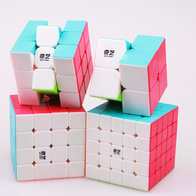QIYI 2x2x2 3x3x3 4x4x4 5x5x5 Magic puzzles Cubes professional speed sticker less cube educational cubo magico toys for children