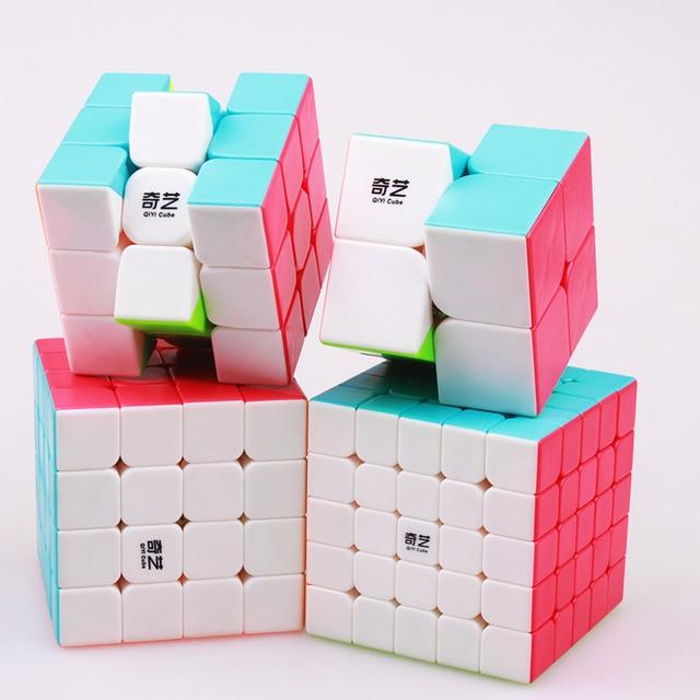 QIYI 2x2x2 3x3x3 4x4x4x3 4x4 5x5x5 Cubo de rompecabezas mágico Cubo de velocidad profesional sin adhesivo QiYi Cubo Magico juguete educativo para niños