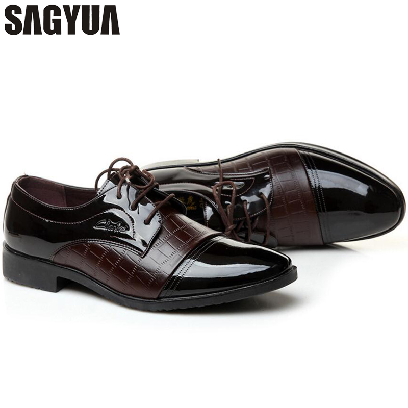 SAGYUA Luxury Brand Patent Leather Sko Menn Oxfords Menn Flats - Herresko