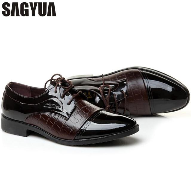 f0395dc162 SAGYUA Luxury Brand Patent Leather Shoes Men Oxfords Men s Flats Formal  Shoes Classic Business Dress Shoes Man Oxford Flats T221