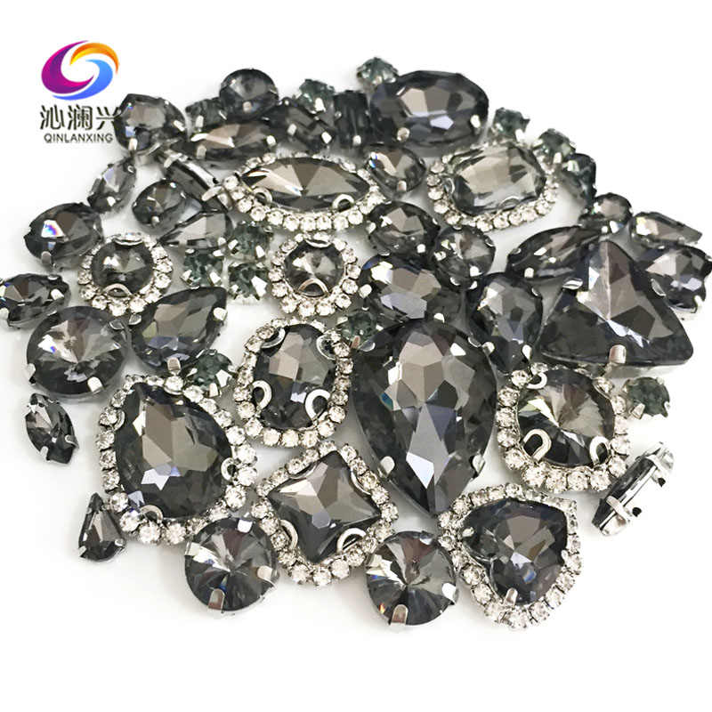 50pcs/bag Gray Color Mix Shape Crystal Buckle+claw Rhinestone,Silver Base Galss Sew On Stones Diy/Clothing Accessories MIXSK03