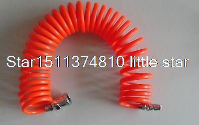 8mm(OD) x 5(ID) PU Recoil Air Tubing Pipe Hose 6m with quick connector pneumatic quick fittings 8mm x 5mm pu 6m air recoil hose pu tube pipe