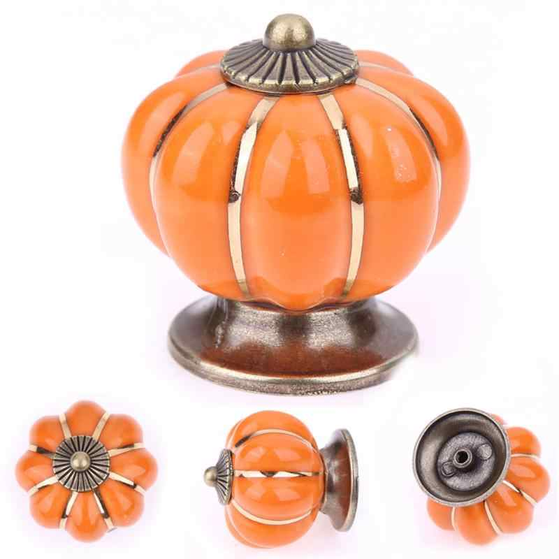 Vintage Furniture Handle Pumpkin Ceramic Door Knobs Cabinet Knobs and Handles for Furniture Drawer Cupboard Kitchen Pull
